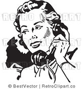 Royalty Free Retro Lady Talking on a Phone by BestVector