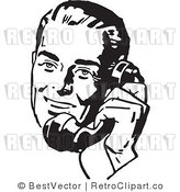 Royalty Free Retro Man Using a Phone by BestVector