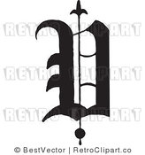 January 4th, 2012: Royalty Free Retro Old English Abc Letter V by BestVector