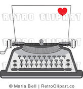 Royalty Free Retro Piece of Paper in a Typewriter a Little Red Heart in the Corner by Maria Bell