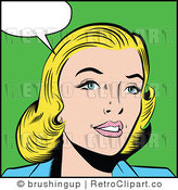 Royalty Free Retro Pop Art Blond Woman with Talking Bubble by Brushingup