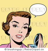 Royalty Free Retro Pop Art Woman Holding a Compact with a Speech Bubble by Brushingup