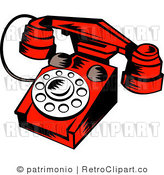 Royalty Free Retro Red Old Fashion Telephone by Patrimonio