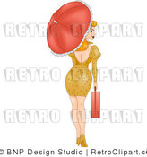Royalty Free Retro Sexy Woman Walking with a Briefcase and Parasol by BNP Design Studio