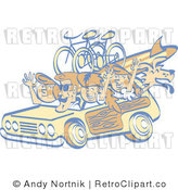 Royalty Free Retro Summer Family in a Car by Andy Nortnik