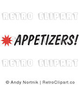 Royalty Free Retro Vector Clip Art of a Appetizers Sign by Andy Nortnik