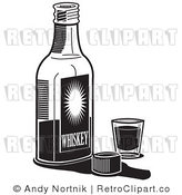 Royalty Free Retro Vector Clip Art of a Black and White Bottle of Whiskey by Andy Nortnik