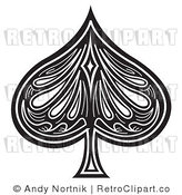 Royalty Free Retro Vector Clip Art of a Black and White Spade by Andy Nortnik