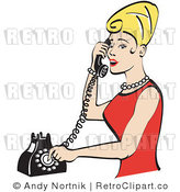 Royalty Free Retro Vector Clip Art of a Blond Housewife Answering a Phone Call by Andy Nortnik