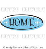 Royalty Free Retro Vector Clip Art of a Blue Home Website Button by Andy Nortnik