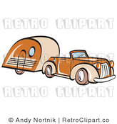 May 12nd, 2011: Royalty Free Retro Vector Clip Art of a Car and Trailer by Andy Nortnik