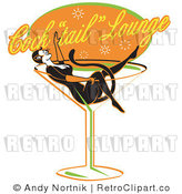 Royalty Free Retro Vector Clip Art of a Cat Woman in a Cocktail Glass by Andy Nortnik