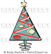 Royalty Free Retro Vector Clip Art of a Christmas Tree by Andy Nortnik
