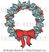 Royalty Free Retro Vector Clip Art of a Christmas Wreath by Andy Nortnik