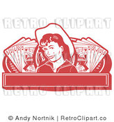 Royalty Free Retro Vector Clip Art of a Cowgirl Casino Banner by Andy Nortnik