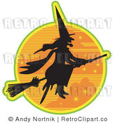 Royalty Free Retro Vector Clip Art of a Flying Witch by Andy Nortnik