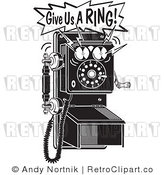 Royalty Free Retro Vector Clip Art of a Give Us a Ring Telephone by Andy Nortnik