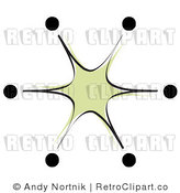 Royalty Free Retro Vector Clip Art of a Green Burst by Andy Nortnik