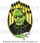Royalty Free Retro Vector Clip Art of a Green Phantom of the Opera by Andy Nortnik