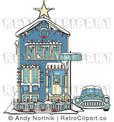 Royalty Free Retro Vector Clip Art of a House and Car by Andy Nortnik