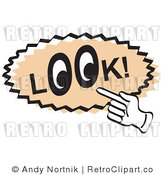 Royalty Free Retro Vector Clip Art of a Look Sign by Andy Nortnik