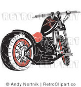 Royalty Free Retro Vector Clip Art of a Motorcycle by Andy Nortnik