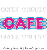 Royalty Free Retro Vector Clip Art of a Neon Cafe Sign by Andy Nortnik
