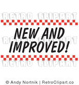 Royalty Free Retro Vector Clip Art of a New and Improved Sign with Checkers by Andy Nortnik