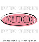 Royalty Free Retro Vector Clip Art of a Pink Portfolio Website Button by Andy Nortnik