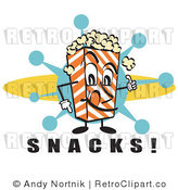 Royalty Free Retro Vector Clip Art of a Popcorn Carton Character with Snacks Text by Andy Nortnik