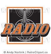Royalty Free Retro Vector Clip Art of a Radio Communications Tower and Globe by Andy Nortnik