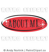 Royalty Free Retro Vector Clip Art of a Red About Me Website Button by Andy Nortnik