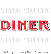 Royalty Free Retro Vector Clip Art of a Red Diner Sign by Andy Nortnik