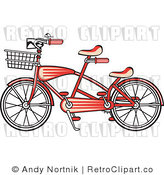 Royalty Free Retro Vector Clip Art of a Red Tandem Bike by Andy Nortnik