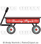 Royalty Free Retro Vector Clip Art of a Red Wagon by Andy Nortnik
