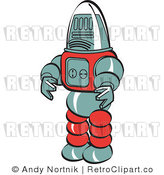 Royalty Free Retro Vector Clip Art of a Robot by Andy Nortnik