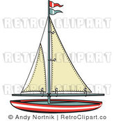 Royalty Free Retro Vector Clip Art of a Sailboat by Andy Nortnik