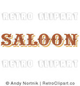 Royalty Free Retro Vector Clip Art of a Saloon Sign by Andy Nortnik