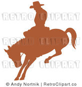 Royalty Free Retro Vector Clip Art of a Silhouetted Rodeo Cowboy by Andy Nortnik