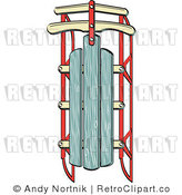 Royalty Free Retro Vector Clip Art of a Sled by Andy Nortnik