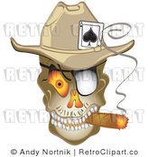 Royalty Free Retro Vector Clip Art of a Smoking Gambling Skull by Andy Nortnik