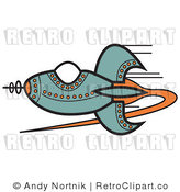 Royalty Free Retro Vector Clip Art of a Space Rocket by Andy Nortnik