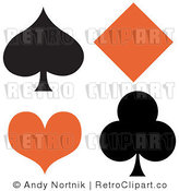 Royalty Free Retro Vector Clip Art of a Spade, Diamond, Heart and Club by Andy Nortnik