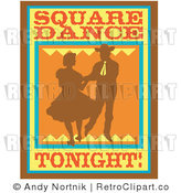 Royalty Free Retro Vector Clip Art of a Square Dancing Tonight Sign by Andy Nortnik