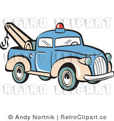 Royalty Free Retro Vector Clip Art of a Tow Truck by Andy Nortnik