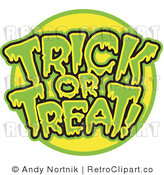 Royalty Free Retro Vector Clip Art of a Trick or Treat Greeting by Andy Nortnik
