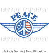 Royalty Free Retro Vector Clip Art of a Winged Peace Symbol by Andy Nortnik