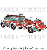Royalty Free Retro Vector Clip Art of a Woodie Car and Trailer by Andy Nortnik