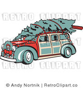 Royalty Free Retro Vector Clip Art of a Woody and Christmas Tree by Andy Nortnik