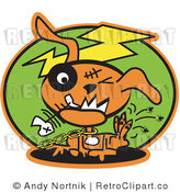 Royalty Free Retro Vector Clip Art of an Itchy Dog by Andy Nortnik